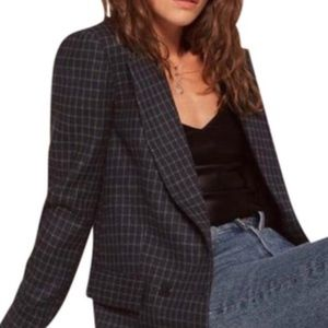 Reformation plaid window pane blazer jacket